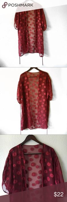 Sheer Kimono Sheer dark red kimono with open flowing sleeves, floral  stitched print. Petra Fashions Intimates & Sleepwear Robes