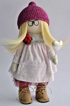 Happy blonde girl textile doll interior stylish artist clothes dress size 11in #handmade