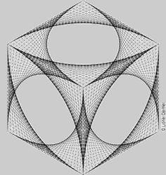 Curve-stitch isometric cube making of Graphisches Design, Line Design, Strate Design, Isometric Cube, Art Du Fil, Geometric Drawing, String Art Patterns, Spirograph, Math Art