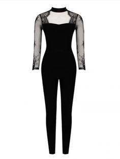 "83c97316ad10 ""Hera"" Lace Sleeve Detail Bandage Jumpsuit Lace Sleeves"