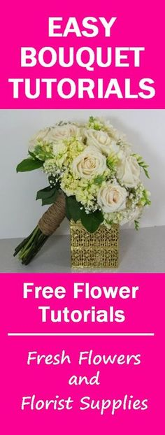 How to Make a Hand Tied Wedding Bouquet - Learn how to make bridal bouquets, corsages, boutonnieres, centerpieces and church wedding decorations like a pro! Buy wholesale flowers and discount florist supplies.