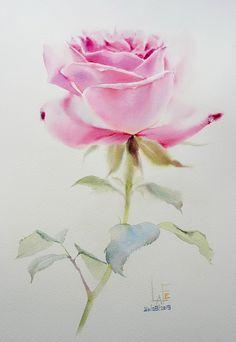 Watercolor Pictures, Watercolor Artwork, Watercolor Rose, Watercolor Cards, Watercolor Illustration, Rose Oil Painting, Fruit Painting, Watercolor Flowers Tutorial, Retro Art