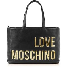Love Moschino Gold Logo Shopper ($190) ❤ liked on Polyvore featuring bags, handbags, tote bags, black, laptop tote, logo shopping bags, pouch purse, shopper tote and love moschino handbags