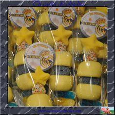 Brochetas de chuches Real Madrid personalizadas, para los más futboleros. ¿cuál es tu equipo favorito?