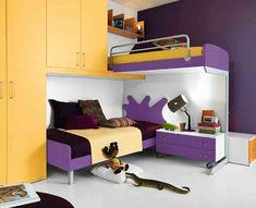 Παιδική κουκέτα κίτρινο και μοβ Bunk Beds, Toddler Bed, Loft, Furniture, Home Decor, Child Bed, Decoration Home, Loft Beds, Room Decor
