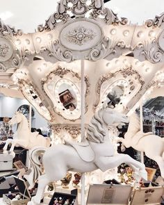 Once-colorful carousel painted white. Aesthetic Colors, White Aesthetic, Aesthetic Photo, Aesthetic Pictures, Photo Wall Collage, Picture Wall, Tableaux Vivants, Fun Fair, Merry Go Round