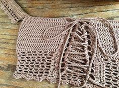 Crochet Bikini Pattern, Crochet Crop Top, Crochet Diagram, Hand Crochet, Crochet Patterns, Sewing Stitches, Hippie Outfits, Crochet Projects, Knitting