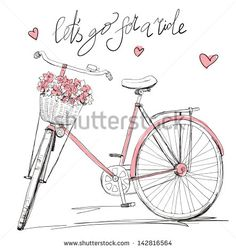 Bicycle with a basket full of flowers - stock vector
