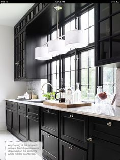 Love The Black Cabinets With White Granite Counters