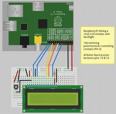 Fritzing Project – Raspberry Pi - 16x2 LCD - with Contrast control