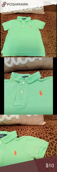 💝💝 Included In The Buy One Get One Free!! Ralph Lauren adorable green short sleeve  polo with orange logo! Excellent Condition! Size 12 mo Polo by Ralph Lauren Shirts & Tops Polos