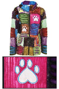 Patchwork Paw Print Hooded Jacket at The Animal Rescue Site cooler weather is coming! Warm up and help shelter pets!