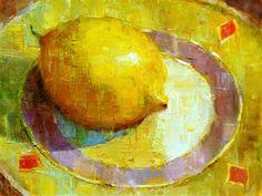 """""""Lemon on Saucer"""" - Original Fine Art for Sale - © Julie Ford Oliver"""