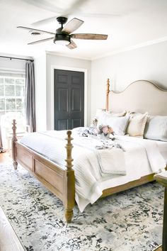 Simply Summer Bedroom Tour - A Drab Bedroom Gets A Sophisticated Makeover Using Clearance Items And Thrift Finds For A Masculine Feminine Balance Styled For Summer. Farmhouse Bedroom Decor, Home Decor Bedroom, Bedroom Furniture, Bedroom Ideas, Bedroom Fan, Decor Room, Warm Bedroom, Bedroom Suites, Gold Bedroom