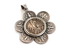 """Necklace made from Coins - Flower, US Dimes and Dollar Coin, """"Liberty Blossom Necklace"""", Coin Jewelry by NoaTam on Etsy Penny Jewelry, Metal Jewelry, Silver Jewelry, Silverware Jewelry, Spoon Jewelry, Coin Crafts, Us Dime, Ideas Joyería, Coin Art"""
