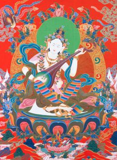 """Female Buddha Saraswati is the Goddess of Knowledge, Arts, and Music, and is the consort of Mañjuśrī, the Buddha of Wisdom. She is also considered the peaceful form of Palden Lhamo, wrathful Dharma Protector. Saraswati's mantra in """"om sarasiddhi hring hring."""""""