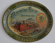 MENOMINEE FACTORY SCENE BEER TRAY MENOMINEE RIVER BREWING CO - MENOMINEE, MI