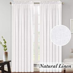 White Linen Curtains for Living Room Functional Open Weave Linen Curtain Drapes Pair, Highly Durable Rod Pocket Window Draperies for Bedroom/Patio Door, Privacy Assured, 52x96 - Inch