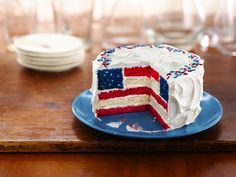 Red, White and Blue Layered Flag Cake perfect for the Fourth of July. ( 4th of July )