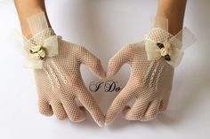 Ivory or White Lace Bridal Gloves, Bride Gloves, Bridal Mittens, Floral Wedding Lace Gloves, Vintage Bride Accessories - Victorian Grace. $55.00, via Etsy.