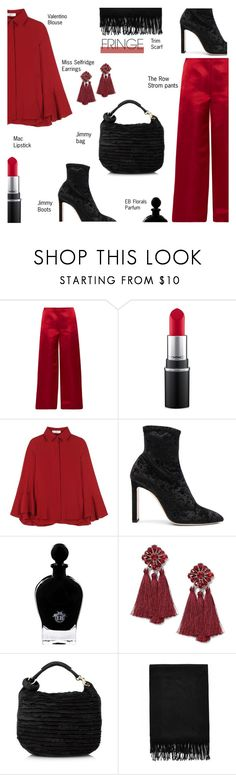 """Fringe.."" by rasa-j ❤ liked on Polyvore featuring The Row, MAC Cosmetics, Valentino, Jimmy Choo, EB Florals, Miss Selfridge, fringe and womensFashion"