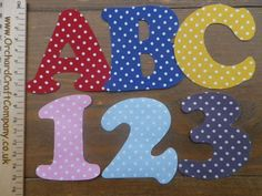 *** NEW ***7.5 cm Iron On Fabric Letters and Numbers (3 Inch ) Sets of 2 ,Applique, Bunting
