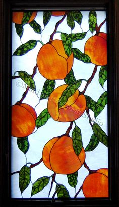 Peaches stained glass panel - Maid on the Moon Studio