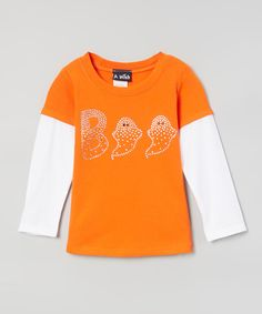 Look at this A Wish Orange & White 'Boo' Layered Tee - Infant, Toddler & Girls on #zulily today!