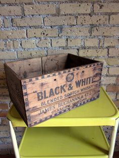 Vintage Buchanan and Company Whisky Wood Crate by AttysVintage Wooden Crate Boxes, Vintage Wooden Crates, Old Crates, Pallet Barn, Old Baskets, Shipping Crates, Old Suitcases, Old Boxes, Primitive Antiques