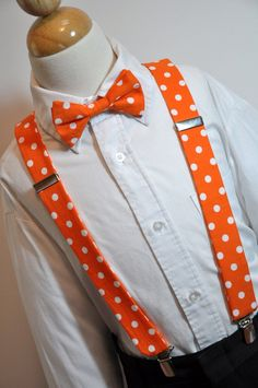 Suspenders and Bowtie Set Boys or Mens Orange and White Dots. $45.99, via Etsy.
