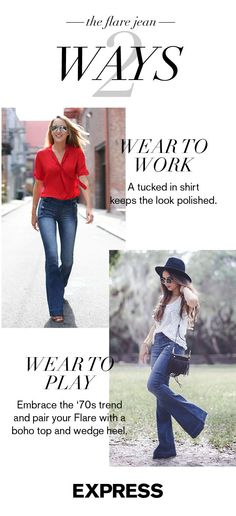 Trendy with its bold, bell-shaped leg, a Flare pair of Express Jeans is also easy to transition from cube to cocktail. Keep the shirt and shoes professional by workday, fashion-forward by weekend. Express has all you need to dare to Flare!