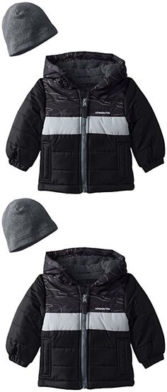 London Fog Baby Pieced Puffer Coat With Hat, Black, 18 Months