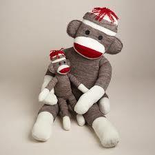 Mom and baby sock monkeys
