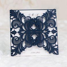 Faire part de mariage elegant de dentelle bleue JM645 à partir de 1.56€