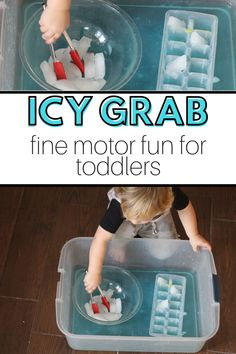 Fun and Easy Toddler Activity with Ice - Happily Ever Mom Toddler Play, Toddler Learning, Preschool Learning, Learning Activities, Teaching, Fun Activities For Toddlers, Sensory Activities, Infant Activities, Summer Crafts For Kids
