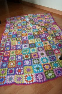 My first Granny squares blanket