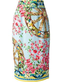 DOLCE & GABBANA - floral print pencil skirt . Multicoloured silk blend floral print pencil skirt from Dolce & Gabbana featuring a high waist, a rear fastening, an all-over floral print and a rear central vent.  Item ID:10620192 . viscose lined with stretch silk .  •Brand Style ID : F4T23TFPRB5