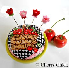 Pincushion - Sewing Pins - Decorative Pins - Mary Engelbreit - Cherry Fabric - Pin Keep - Gift for Sewers - Gift for Quilters - Pin Cushion by CherryChick on Etsy