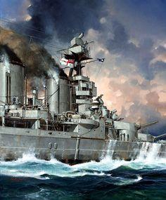 Un fragmento de una pintura de Roger Middlebrook sobre el HMS Hood. Más en www.elgrancapitan.org/foro