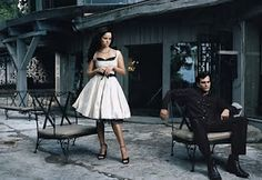 Annie Leibovitz captures Reece Witherspoon and Joaquin Phoenix as June Carter and Johnny Cash in Walk the Line.