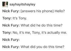 Nick fury Tony stark iron man avengers marvel mcu