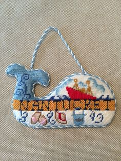 Nantucket whale ornament ~ Canvas design by Kate Dickerson