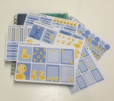 This cute yellow duck themed sticker set contains 6 sheets measuring 4.75 x 6.75 inches - over 150 stickers!  Stickers have been kiss cut and are ready to peel and decorate your planner, notebook or whatever else you like - hopefully theyll bring a smile to your face and help brighten your day too!  These are designed to fit the Erin Condren Vertical Life Planner but can be used in any other planners, notebooks etc youd like. Includes 8 full boxes, 16 half boxes, 10 blank headers, 13…