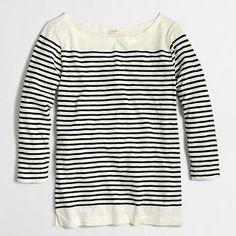Factory drop-stripe boatneck shirt - long sleeve - FactoryWomen's Knits & Tees - J.Crew Factory
