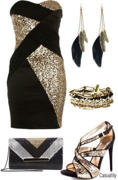 """Gold, Silver, & Black (3)"" by casuality on Polyvore"