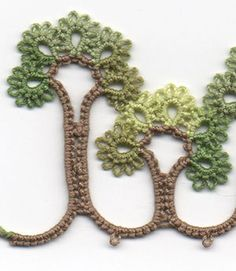 TATTED TREES EDGING  Nancy from the blog Be-Stitched says that she was driving through the countryside trying to decide what to make next for an pattern. She drove past a line of trees and it occurred to her that it would be fun to figure out an edging made of trees. Click through the link for a how-to on making this. Theres also a chart to follow.