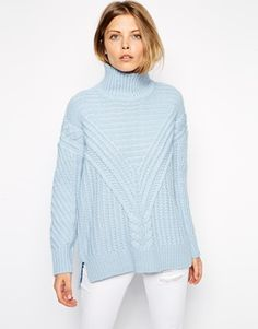 ASOS Cable Sweater With Turtleneck