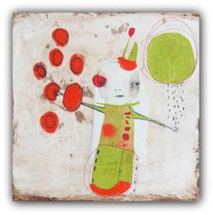 "Original Drawing, Mixed Media Collage with Simple Embroidery, Acrylic Painting by Christina Romeo ""Envy"