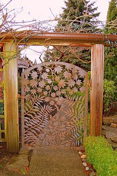 Stunning custom metal gate with leaves and fern cutouts Old Gates, Metal Gates, Wrought Iron Gates, Garden Gates And Fencing, Garden Doors, Front Gates, Entrance Gates, Door Gate, Fence Gate