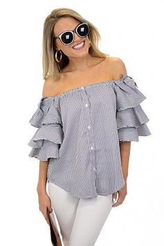 The Blue Door Boutique is your one-stop-shop for cute dresses, affordable tops, and boutique clothing. Fashion Line, White Fashion, Daily Fashion, Pastel Skirt, Traje Casual, Pretty Quinceanera Dresses, Casual Chic Style, Ruffle Top, Blouse Styles